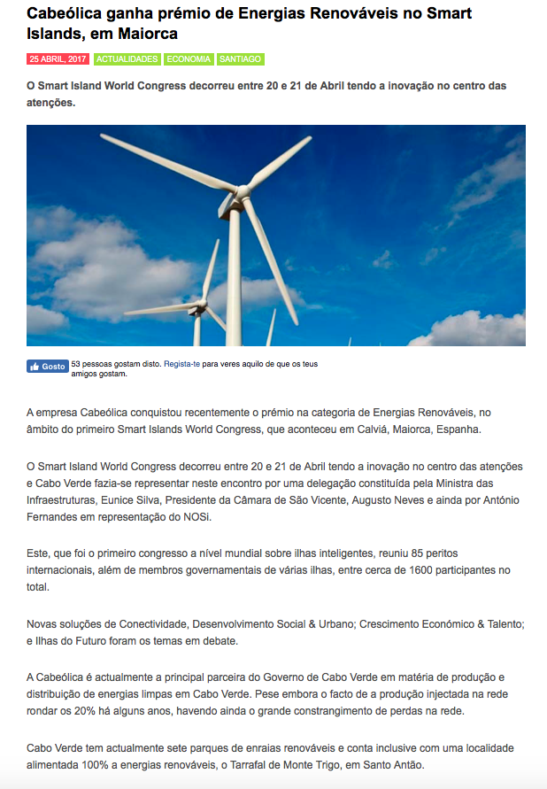 Cabeolica is attributed Renewable Energy Award during the Smart Islands event in Maiorca.