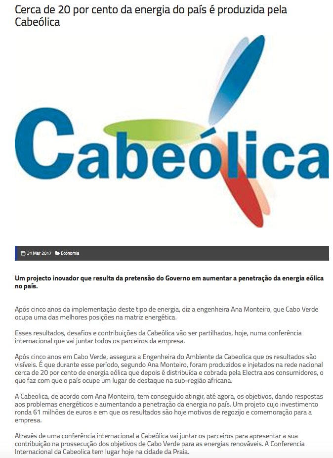 Approximately 20% of the country's electricity is produced by Cabeolica