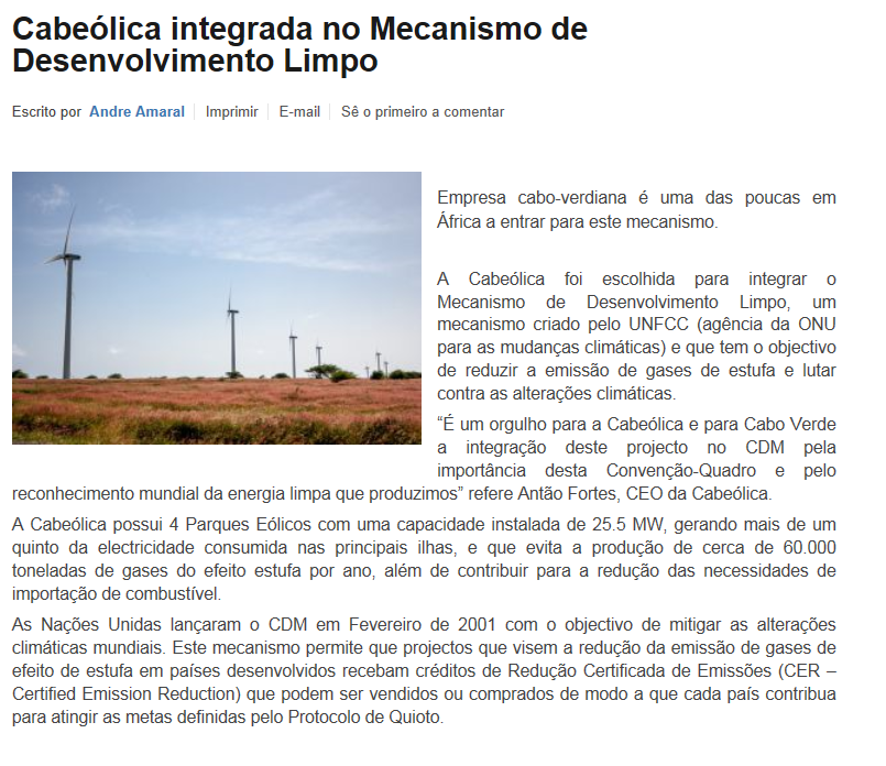 Cabeolica Considered one of the Best PPPs in Sub-Saharan Africa